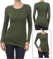 Basic Long Sleeve Solid Top Womens Plain Cotton T Shirt Stretch Tight Crew Neck $10.95