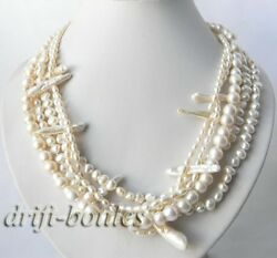 21''  5Strands White Rice Biwa Baroque Freshwater Pearl Necklace