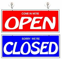 Open and Closed Two-Sided Large Business Sign