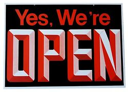 OpenClosed Big Visible Sign With 3D Graphics 18 Wide x 13 High Double Sided