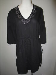 Raviya Embroidered Cover Up Black M NWT $39.99
