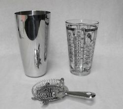 3 pc BOSTON COCKTAIL SHAKER KIT Mixing Glass Strainer Stainless Shaker Bar Kit $21.95