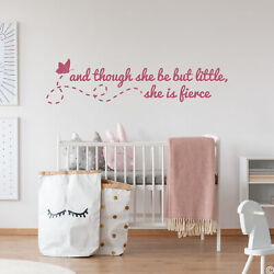 And Though She Be But Little She Is Fierce Vinyl Wall Decal Shakespeare L023