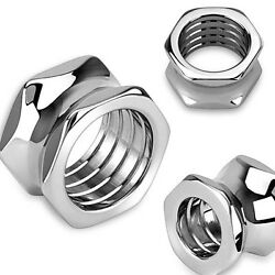 PAIR Hexagon Bolt Tunnels Screw 316L Surgical Steel Double Flare Plugs Gauges $9.95
