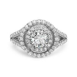 2.04 E SI1 ROUND CUT DIAMOND ENGAGEMENT RING 14K WHITE GOLD
