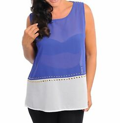 WOMENS PLUS SIZE CLOTHING SHEER BLUE AND CREAM TUNIC TOP WITH GOLD STUD DETAIL AU $30.00