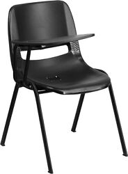 Flash Furniture Black Ergonomic Shell Chair with Right Handed Flip-Up Tablet...