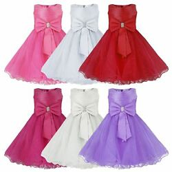 GIRLS PARTY DRESSES BOW DETAIL FLOWER GIRL WEDDING PAGEANT BRIDESMAID 2 12 Y GBP 24.99