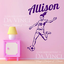 Soccer Player Sports Wall Personalized Custom Girl Name Vinyl Wall Decal Sticker $23.99