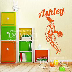 Basketball Player Wall Personalized Custom Girl Name Vinyl Wall Decal Sticker $33.99