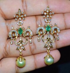 CERTIFIED NATURAL 14CTS VS G DIAMOND EMERALD 18K GOLD SOUTH SEA PEARL EARRINGS