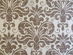 Large scale shield medallion decorator fabric printed on bark cloth in brown tan $8.00