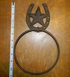 Rustic Western Decor Horseshoe amp; Star Wall Mounted Towel Rope Holder Ring $9.95