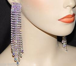 SILVER W. AB IRIDESCENT RHINESTONE 5.1 2quot; BRIDAL PARTY CHANDELIER CLIP EARRINGS $28.72