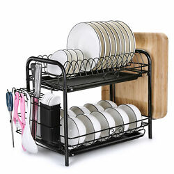 Large Capacity Dish Rack 2 Tier w Utensil Holder Drainer Drying Kitchen Storage $28.49