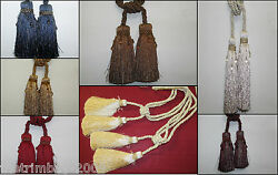 One Pair Of Twin Headed Beaded Luxury Tassel Designer Curtain Tie Backs