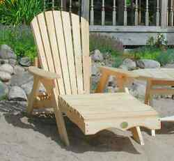 (1) Bear Chair BC700P White Pine Adirondack Chaise Lounge Patio Porch Chair Kit