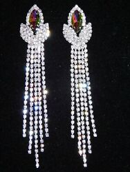 Bridal Rhinestone Crystal Chandelier Evening Party Earrings (6 Color Available )