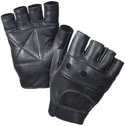 Black Fingerless Tactical Leather Outdoors Motorcycle Gloves 3498 $14.99