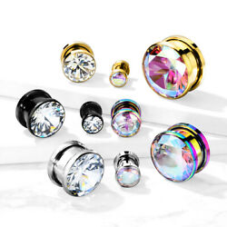 PAIR Large Clear or AB Gem PVD Plated Screw Fit Tunnels Ear Plugs Earlet Gauges $10.75