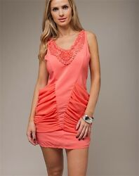 Women Dress Mini Coral V neck clubwear casual party dresses $14.99