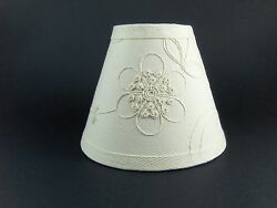 Country Waverly Candlewicking White Fabric Chandelier Lampshade Lamp Shade $14.99