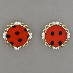 Gold Clear Stone Flower Design Red Trendy Stud Style Earrings.  Made in S.Korea