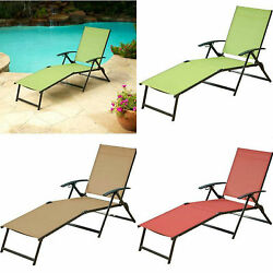Lounger Outdoor Folding Chaise Lounge Chair Patio Pool Deck Seat ASSORTED Colors