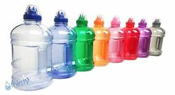 BPA Free Water Bottle Half Gallon Drink Gym Canteen Jug Container Colors 64 oz $9.98
