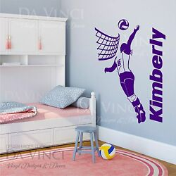 Volleyball Player Decal Girl Custom Name Wall Personalized Vinyl Sticker Decor $23.99