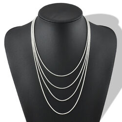 Jewelry 2mm snake Chain silver plated Necklace 18-24 inch fit European beads