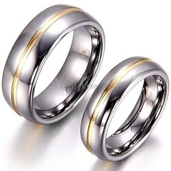 Tungsten Carbide SILVER POLISHED Wedding Band MEN WOMENS Engagement Bridal Ring $12.99
