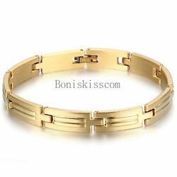 Polished Gold Tone Stainless Steel Link Men's Womens Bracelet Bangle Fashion New