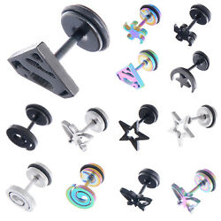 2PCS Gothic Punk Silver Black Superman Star Stainless Steel Mens Ear Stud Screw $1.19