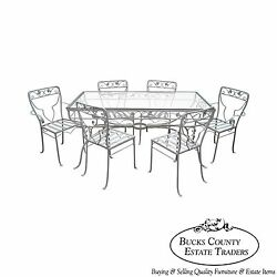 High Quality White Painted Iron Patio Table & Chairs Dining Set