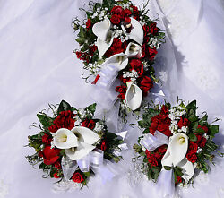 BRIDE RED & WHITE BOUQUET SET CALLA LILY ROSE 29 PIECE Custom Design