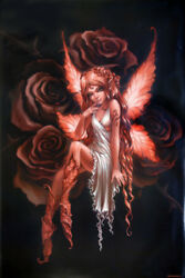 Gothic Red Rose Fairy 24x36 Poster Print Faerie Magic Mythical Fantasy Art