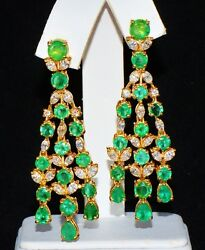 CERTIFIED 16CTS VS F DIAMOND ZAMBIAN EMERALD 18K SOLID GOLD CHANDELIER EARRINGS