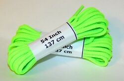 6 Pair Pack Round Athletic Laces for Boots And Shoes NEON GREEN
