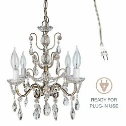 Vintage Small Crystal Chandelier Room Plugin Swag Pendant Lighting Fixture Lamp $89.99