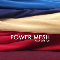 Solid Power Mesh Fabric Nylon Spandex 60quot; wide Stretch Sold BTY Many Colors $6.99