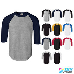 New Raglan 34 Sleeve Baseball Mens Plain Tee Jersey Team Sports T-Shirt S-3XL