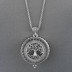 Antique Silver Chain Tree Of Life 5 X Magnifying Glass Locket Pendant Necklace $13.79