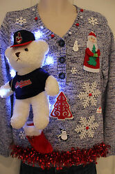 Ugly Xmas Sweater Cleveland Indians Bear Womens SIZE Large Lights Up *
