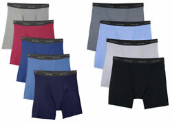 FRUIT OF THE LOOM MEN BOXER BRIEFS 9 IN A PACK ASST COLORS 100% COTTON OR BLAND $22.99