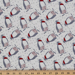 Cotton Knit Penguins in Earmuffs Snow Winter Shorts Print by the Yard - D342.11