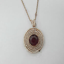 5.82CT F SI Ruby and Diamond Pendant Necklace in 18KT Rose Gold