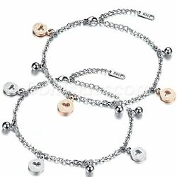 Women Girls Stainless Steel Hollow Love Heart Summer Beach Anklet Bracelet Chain