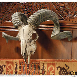 Exotic Animal Replica Ram Skull Curled horns Wall Mounted Trophy Wall Sculpture