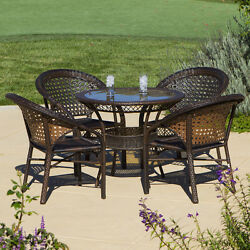 NEW Home Outdoor Patio 5-piece Wicker Garden Dining Bistro Round Table Chair Set